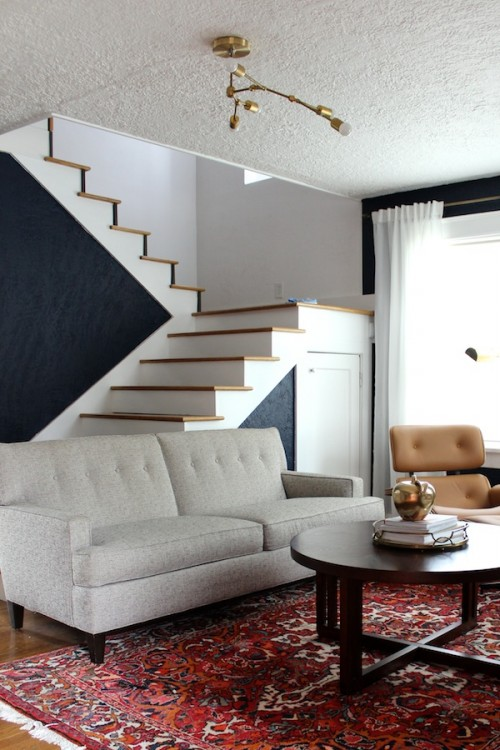 Design*Sponge Sneak Peek The open stairs sold me on this house. I may not feel the same way when we have a kid one day, but for now, they kind of hold the key to my heart. They lead up to what is essentially a lofted master bedroom. Again, I might change my tune at some point, but I like knowing what's going on in the rest of the house even when I'm up there