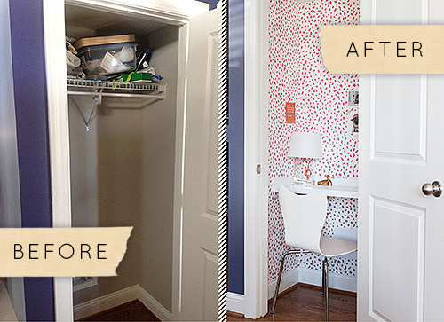 Excellent Before After A Tiny Closet Becomes A Charming Home Office Largest Home Design Picture Inspirations Pitcheantrous