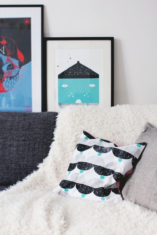 """Design Sponge/ Homemade screenprinted cushion. On the wall is my """"House"""" illustration that I screenprinted (available in my Etsy shop)."""
