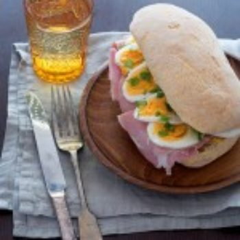 in the kitchen with: kristina's ham, egg and basil sandwich