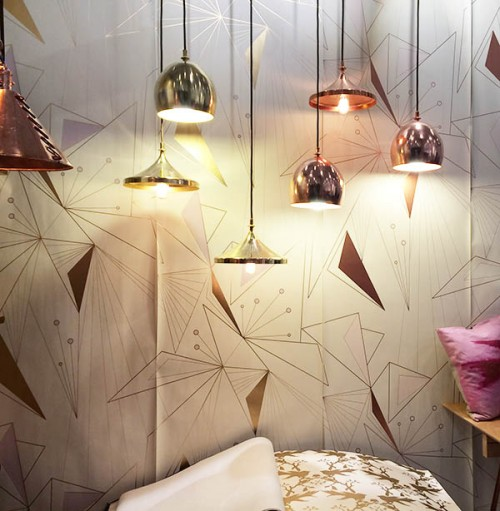[Image above: Great geometric wallpaper from Michele Varian]