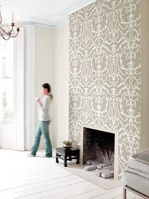 15 beautiful diy ideas for your fireplace design sponge for Statement wallpaper living room