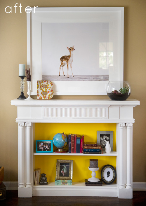 Chenin Didn T Just Use This Fireplace For Displaying Artwork It Became A Fully Functioning Mini Bookshelf I Love The Bright Pop Of Yellow In