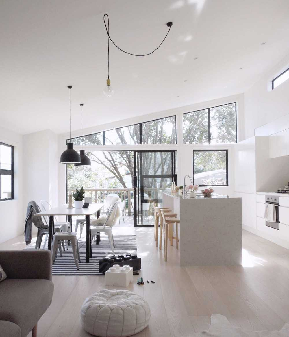 lighting ideas for pitched ceilings - A Minimal and Liveable New Zealand Home By The Beach