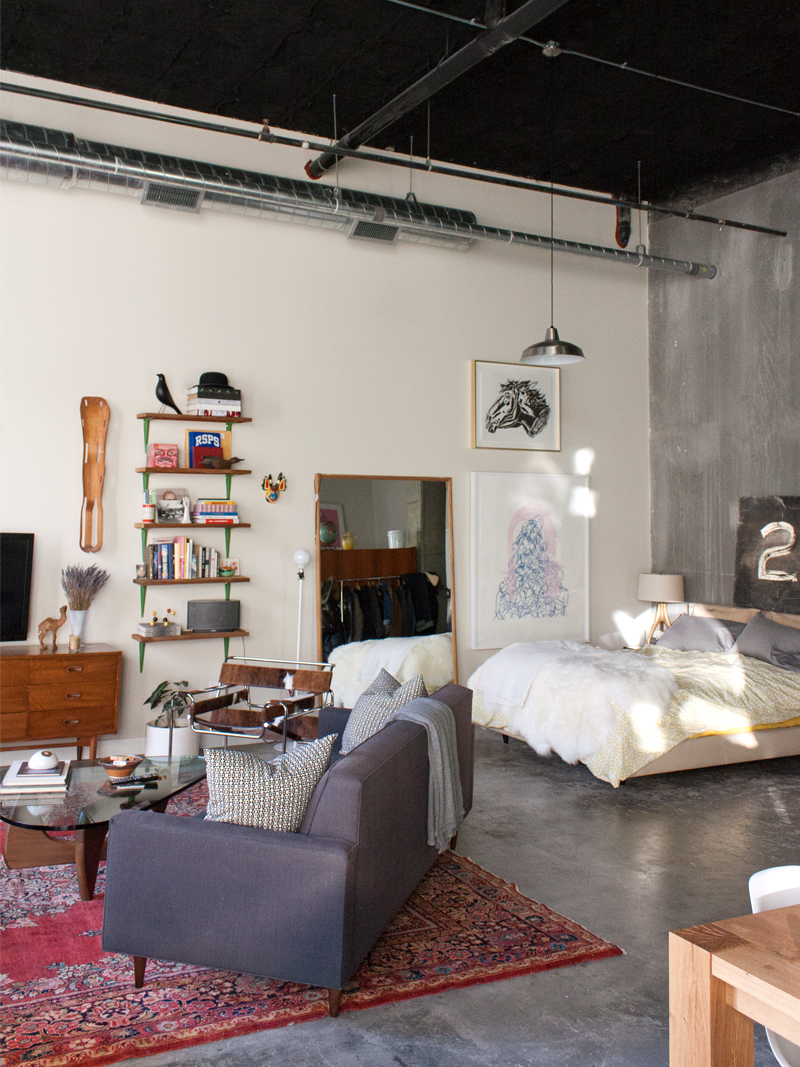 An eclectic apartment in seattle fit for a quirky - Studio apartment furniture layout ...