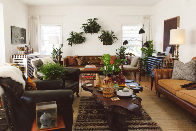 The living room. Most objects are vintage or part of Sabin's own line of furniture designs.