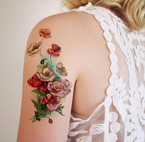 Tattoorary Delft Blue Floral Temporary Tattoos Designsponge