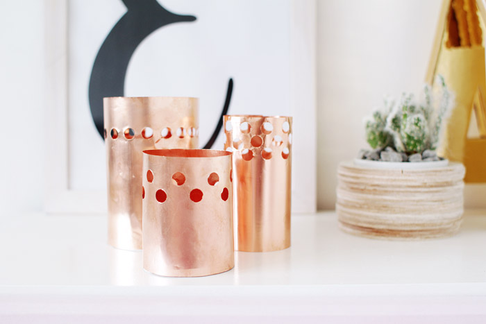 DIY Punched Copper Votives 10