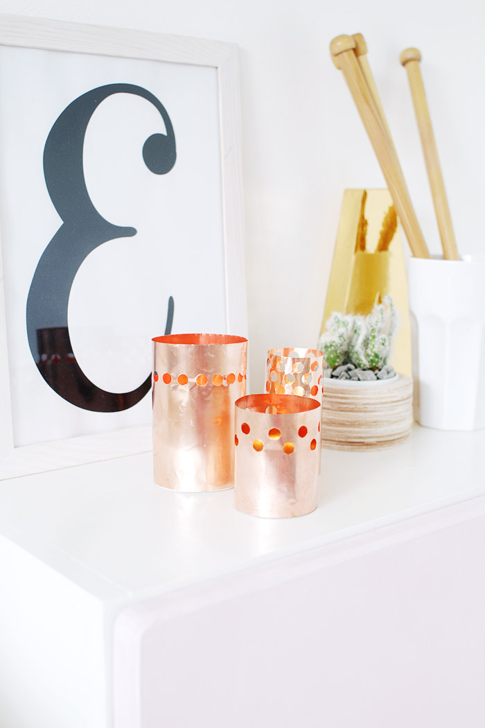 DIY Punched Copper Votives 11