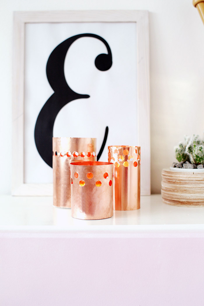 DIY Punched Copper Votives 14