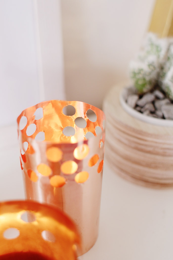 DIY Punched Copper Votives 15
