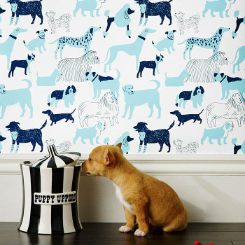 """""""Dog Park"""" in blue by Julia Rothman for Hygge & West. 100% of the profits go to dog shelter charities."""