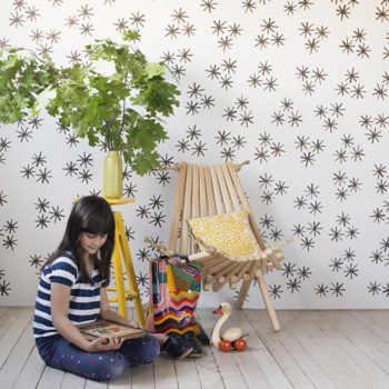 DIY Starbust 'Wallpaper' from Stamp Stencil Paint