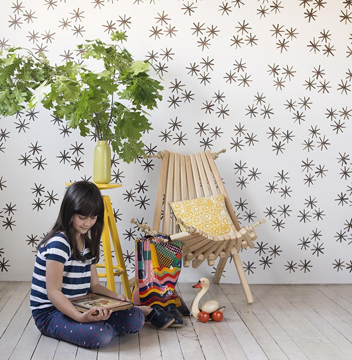 DIY Starbust Wallpaper From Stamp Stencil Paint DesignSponge