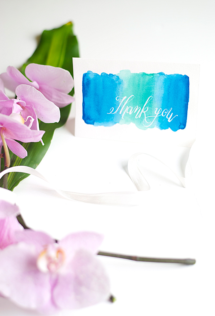 DIY Watercolor Thank You Card