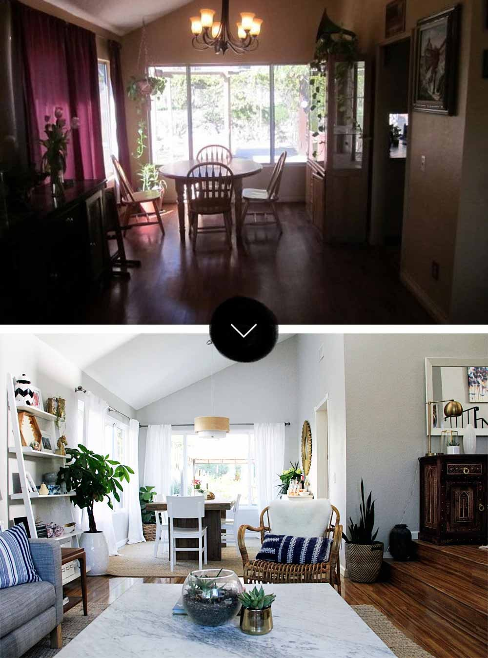 fixer upper before and after living room before amp after a modern bohemian fixer in southern 566