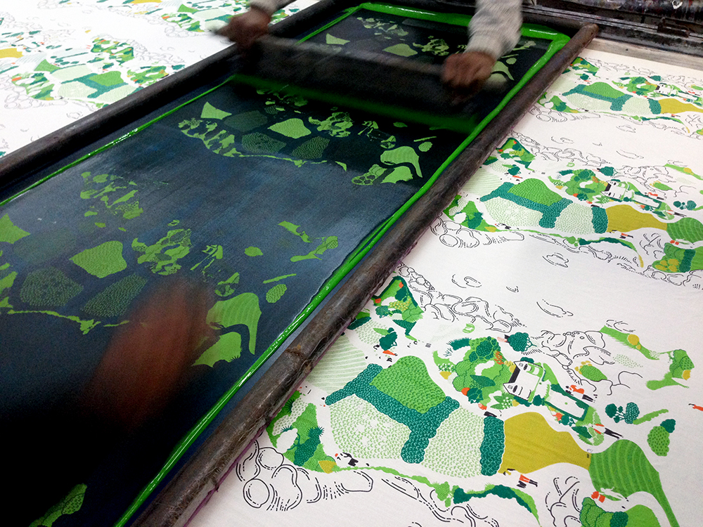 Safomasi making_screenprinting estuary walk print