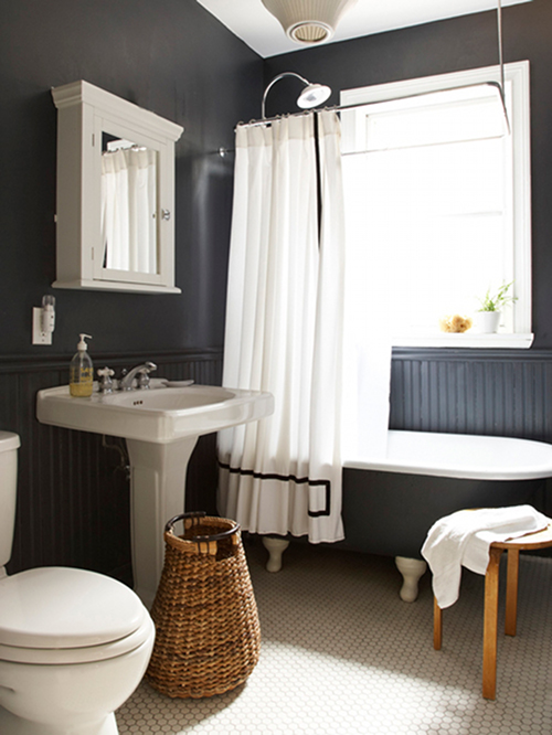 Why Dark Walls Work In Small Spaces DesignSponge - Dark colored bathrooms