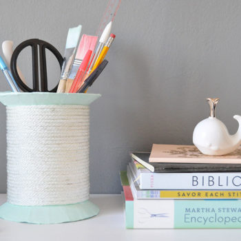 DIY Giant Spool Desk Organizer