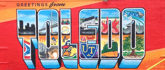 Greetings From mural on Main Street just past downtown in East Toledo.