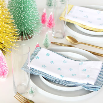 DIY Stamped Winter Napkins