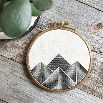Stephanie Lapre: Stephanie's embroidery work more often than not revolves around mountainous geometric shapes. I love her graphic, simplified take on such a classic landscape scene.