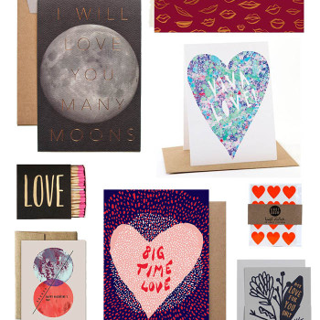 Clockwise from top left: Many Moons Card $6, Lips Copper Foil Card $5.50, Viva Love Card $4, Neon Heart Stickers $4, My Love Only Grows $6, Big Time Love Card $4.50, Moon Card $4.50, Love Matchbox $6.