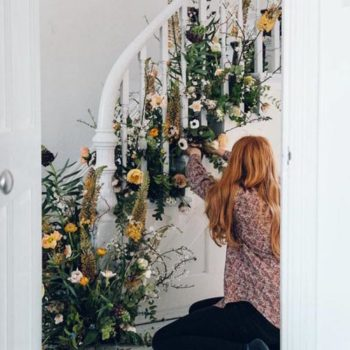 DIY Spring Party Floral Staircase