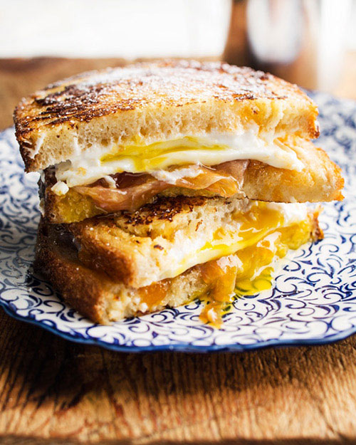 Monte Cristo sandwich with fried egg