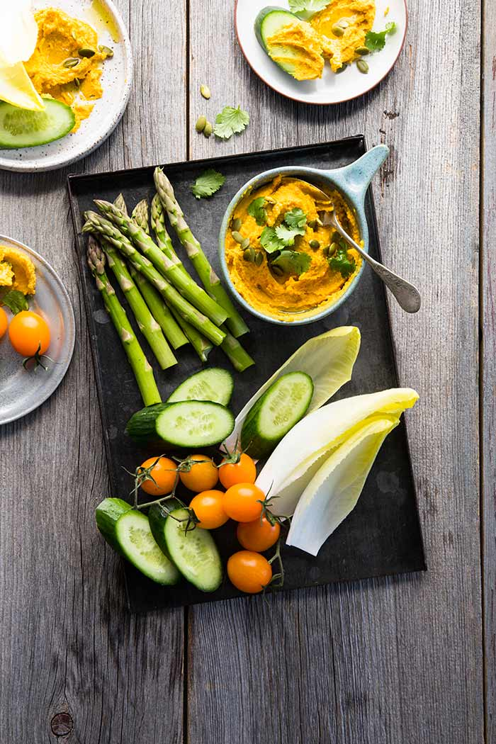 Roasted Carrot and Curry Hummus with Lime