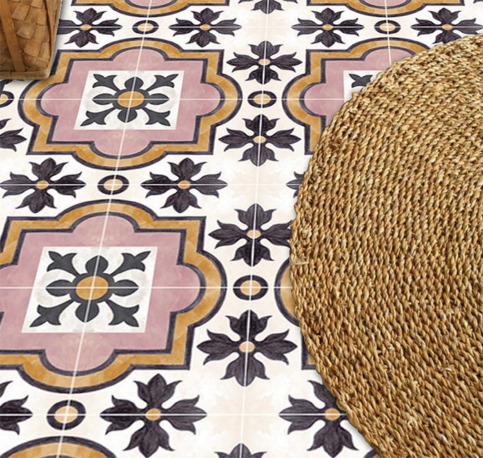 Patterned Peel Stick Floor Tiles Design Sponge