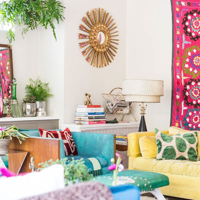 Mark And Laynes Colorful Eclectic Living Room From Their Design Sponge Home Tour