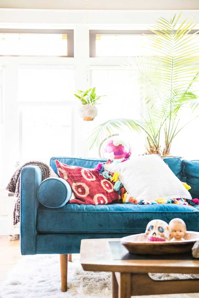 Bright Couch In Layne and Mark's Chicago Home Tour On Design* Sponge