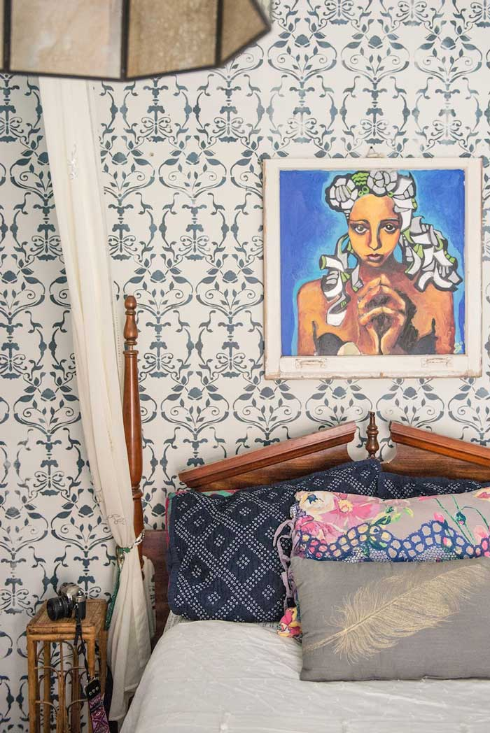 Stenciled Wall In Layne And Marks Chicago Home Tour On Design Sponge