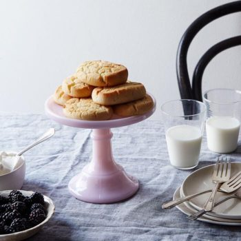 The only thing cuter than a stack of cookies or biscuits is a pink glass cake stand to put them on.