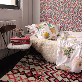 You can actually make the floral bedding shown in this image. Click here for the full instructions. Another trick to customize your dorm space is to use double-stick tape to hang a roll or a few sheets of your favorite wrapping paper and voila, wallpaper!