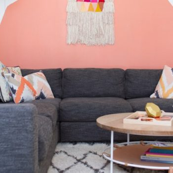 """More on the painted shapes that fill the space from Eric,""""this idea came about because we realized the kind of art we wanted on the walls was only there to provide a bit of color – so we decided to bypass finding the right art and just painted shapes directly onto the wall."""""""