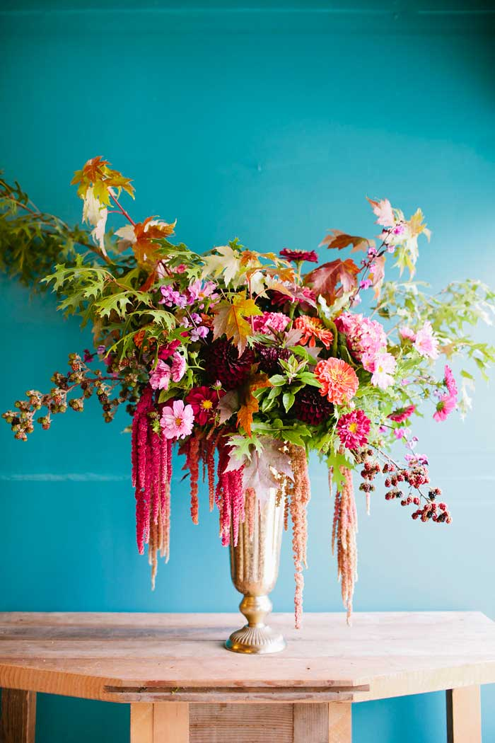 Gorgeous and Green Stunning Floral Arrangement Against Teal On Her Design* Sponge Studio Tour