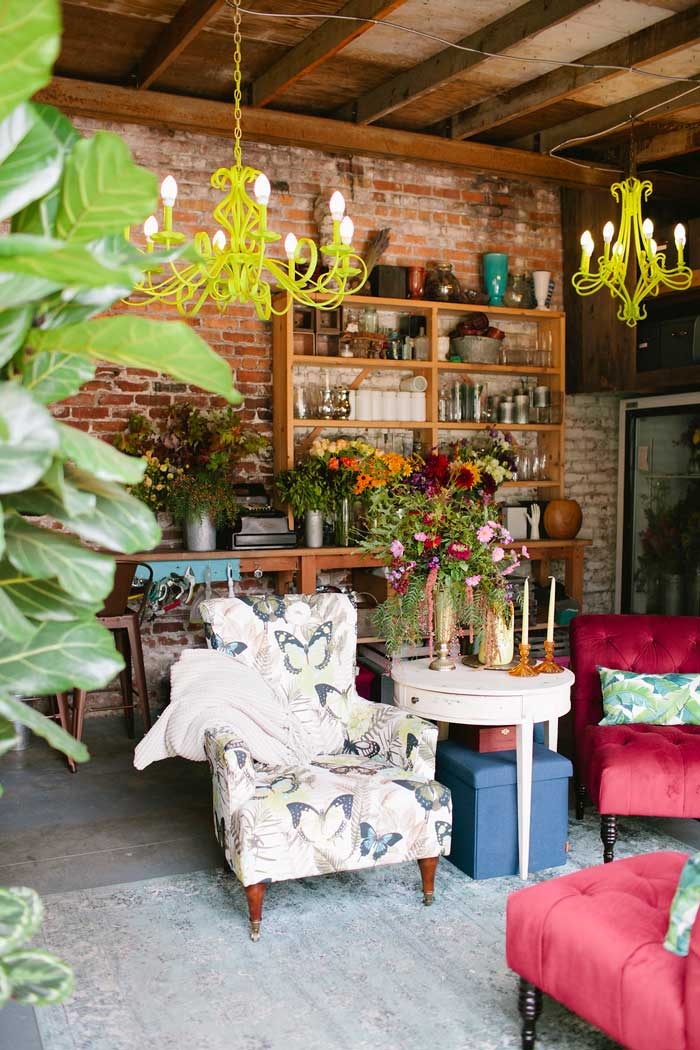 Painted Chandeliers Brighten The Industrial Studio Of Gorgeous And Green On Design* Sponge