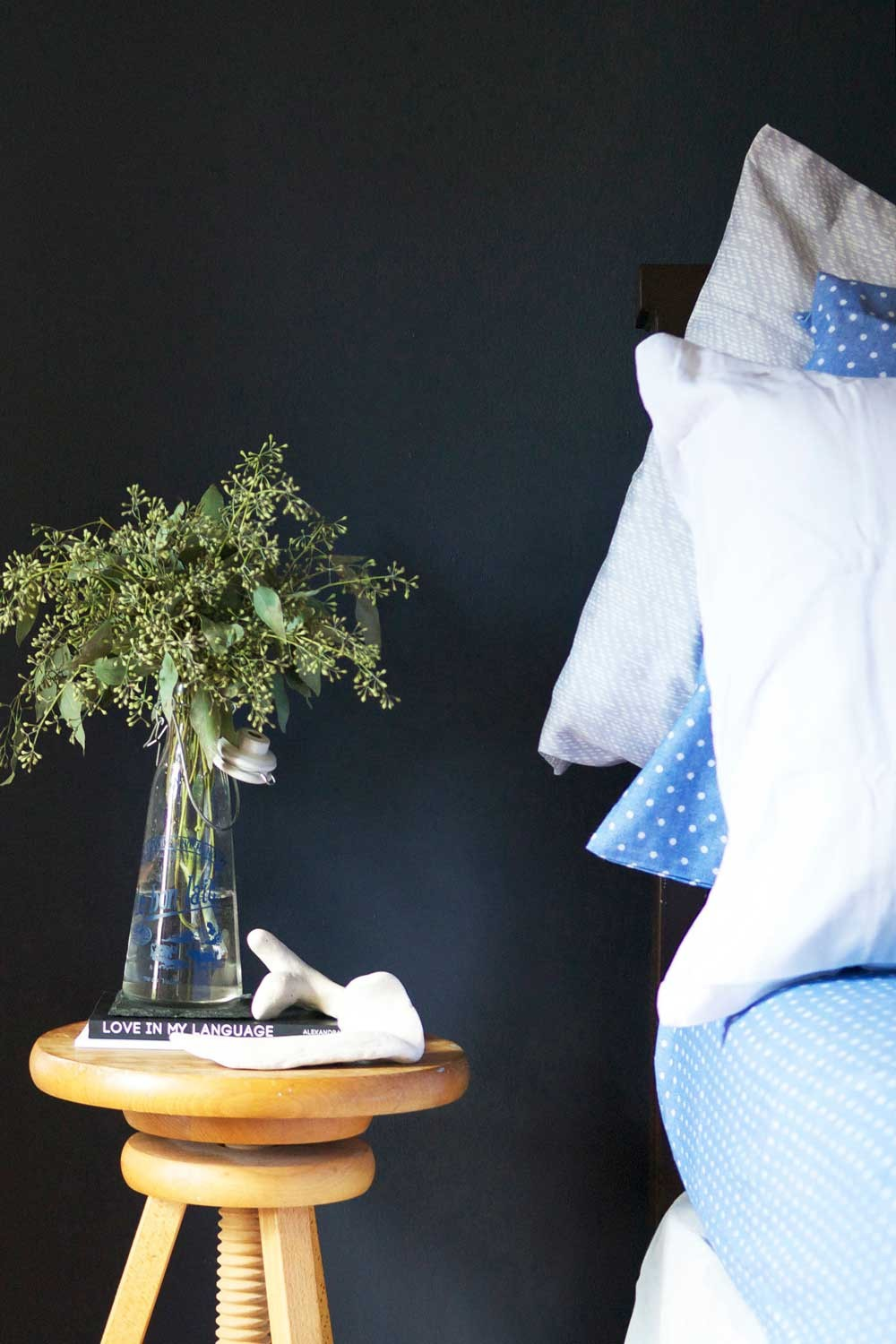 12 pretty functional ways to style your bedside table designsponge a stool as a side table perfect for small spaces on designsponge watchthetrailerfo