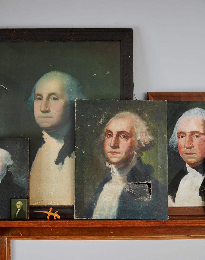 A Vignette Of Paintings Of George Washington Featured In This Family's Colorful Home On Design*Sponge