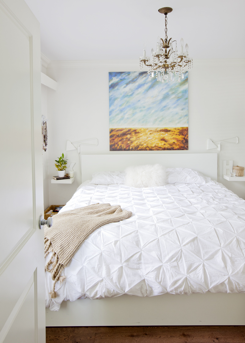 This Petite Vancouver Bedroom Has Shelves In Place Of Traditional Bedside Tables To Save Space On Design*Sponge