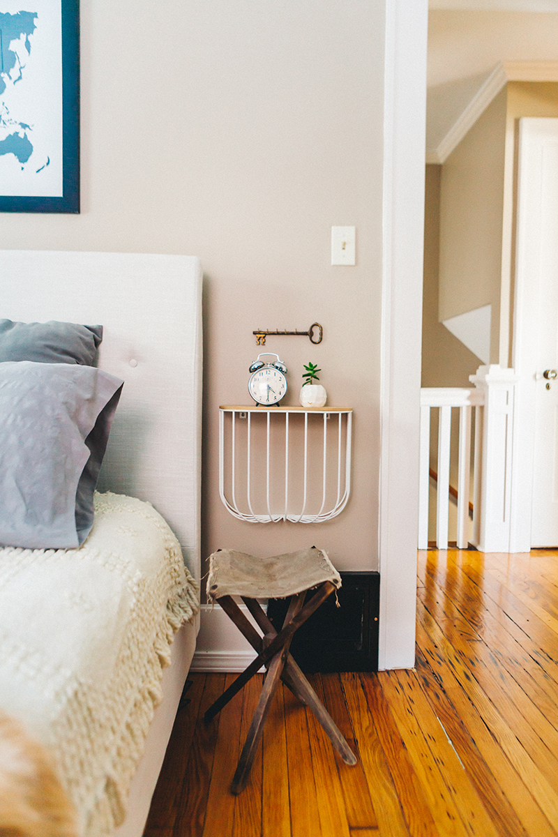 Fold Down Bedside Table With Just Enough Room For The Essentials On Design*Sponge