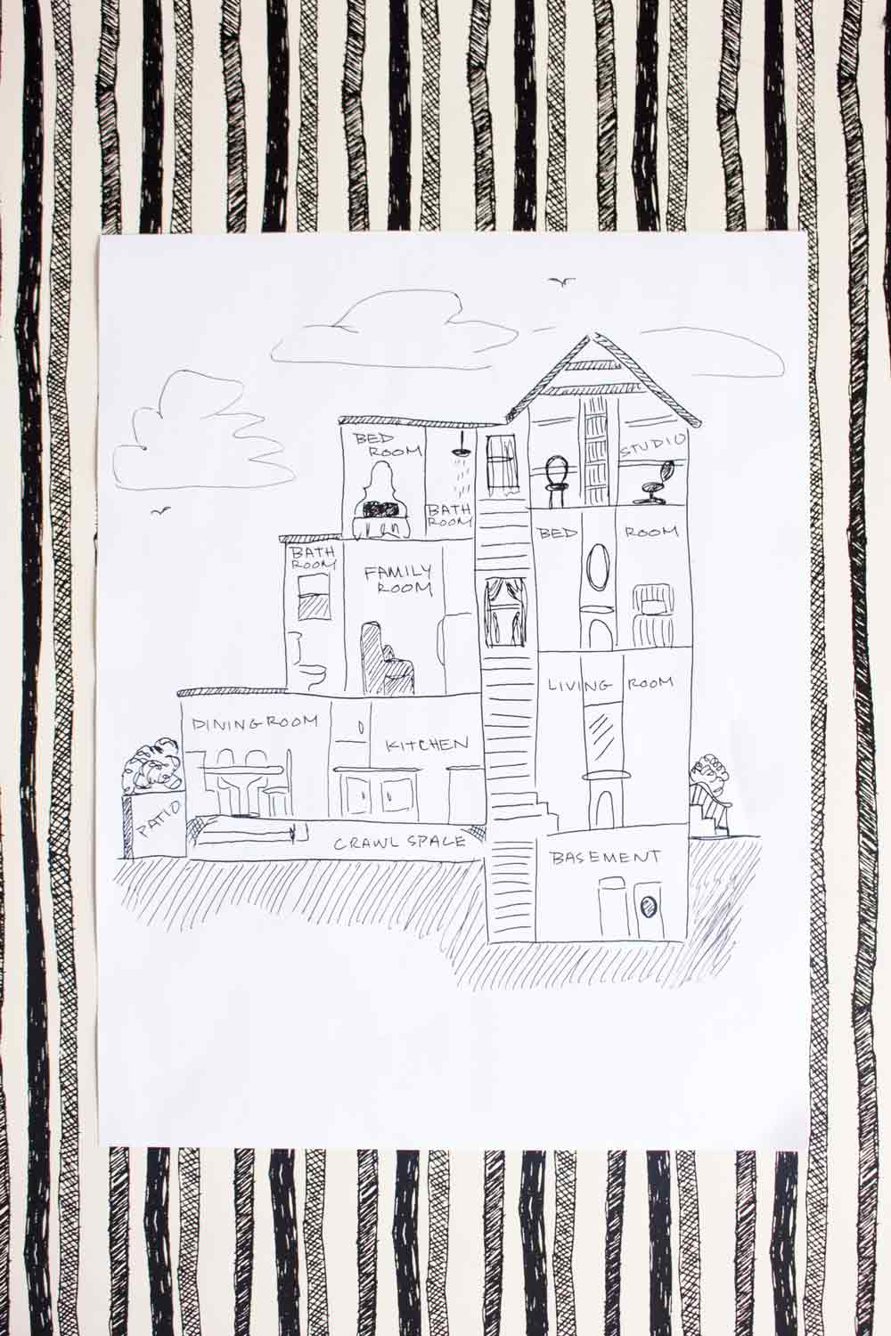 Storytelling Through Drawing in a Philadelphia Row Home, on Design*Sponge