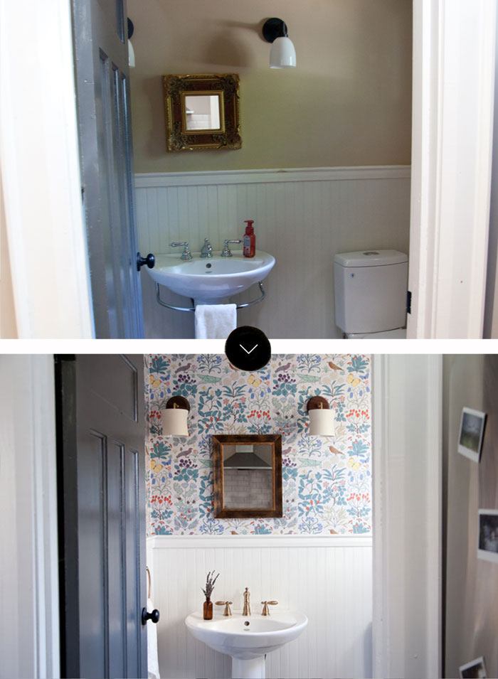 Before And After Of A Powder Room In A Arts And Crafts Style Home In Canada