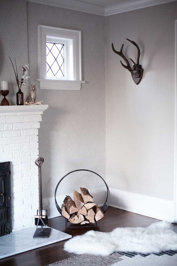 Corner Fireplace Detail Features Woodland Details In This 1928 Home On Design*Sponge