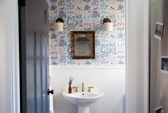 A Pretty Powder Room With Vintage Print Wallpaper, In Canada On Design*Sponge