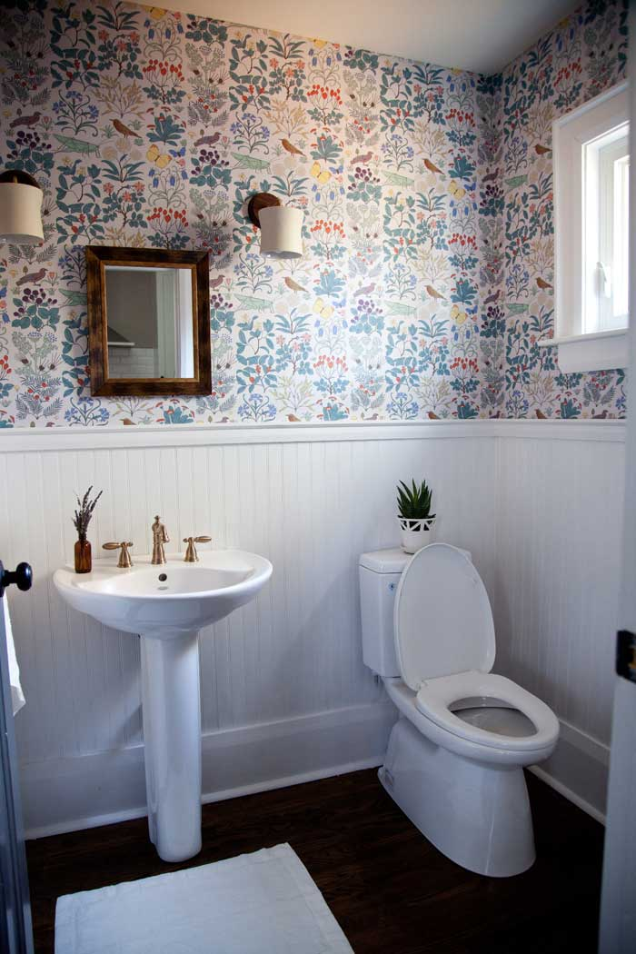 A Vintage Printed Wallpaper That Is Only Two Years Off From The Age Of The Home Shines In This Powder Room On Design*Sponge
