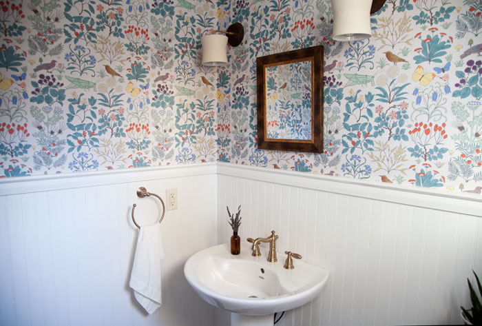 A Petite Powder Room Gets The Attention It Deserves With New Vintage Wallpaper On Design*Sponge