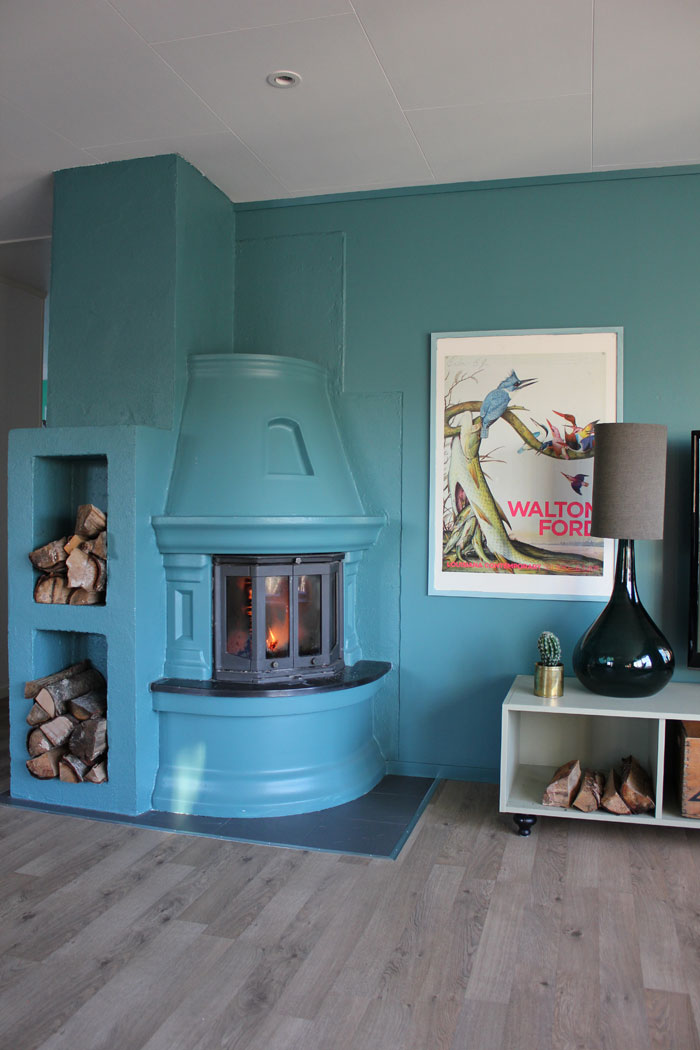 Simone's Blue Fireplace Adds Color To The Dark Months In Norway